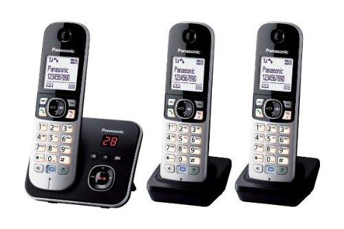Panasonic KX-TG6824GB DECT draadloze telefoon met antwoordapparaat, 3 telefoons + antwoordapparaat, Trio mit Anrufbeantworter, zwart