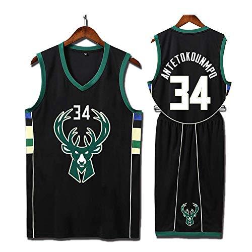QAZWSX Milwaukee Bucks 34 Uniforme de Baloncesto Giannis Antetokounmpo Camiseta de Deportes de Verano, Uniformes de Baloncesto para Adultos (Incluyendo Pantalones Cortos)
