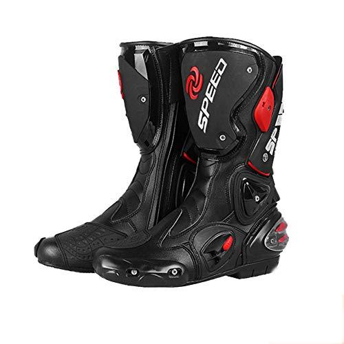 Acptxvh Moto Botas de protección para Mujeres de los Hombres Aults, Zapatos Antideslizante motocrós anticolisión Moto Largo del Tobillo a Caballo, sobre el Road Sports Touring Botas de Cuero,Negro,40