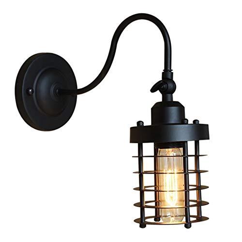 DINGYGJ De pared de luz, persiana de hierro jaula de la lámpara retro Edison industrial del estilo antiguo de la pared de la lámpara E27, conveniente for la sala de estar dormitorio del pasillo del pa
