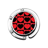 Gancho para monedero, diseño de corazón a cuadros vintage con estampado de corazón plegable y colgante de joyería para amantes de la mesa de escritorio de ganchos, soporte de gancho