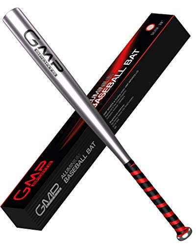 GMP SPORTS BASEBALL BAT SET 28INCH LIGHTWEIGHT ALUMINIUM BAT FOR OUTDOORS ROUNDERS OR SELF DEFENCE WITH CARRY CASE SILVER