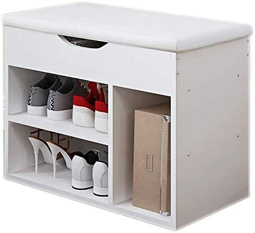 YLCJ Corridor schoenenkast, schoen wit/eiken schoenenrek met kussen (wit) (kleur: B)