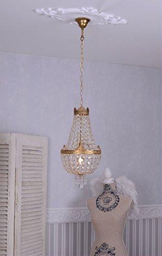 Kronleuchter, Kristallleuchter, Korblüster, Lüster, Leuchter, Lampe für die Wohnung im angesagten Biedermeier-Stil, gefertigt aus Messing mit wunderschönen Glaskristallen - Palazzo Exclusive