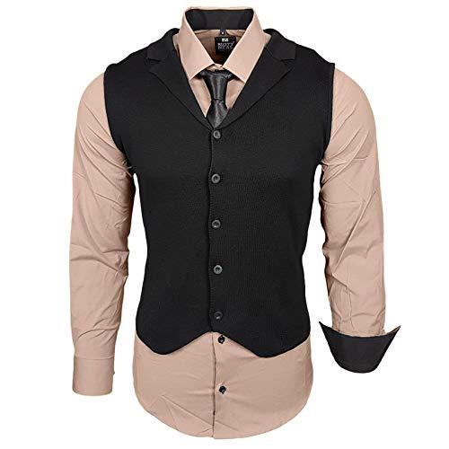 Rusty Neal Herren Hemd Weste Krawatte Set Hemden Business Hochzeit Freizeit Slim Fit, Größe:S, Farbe:Beige