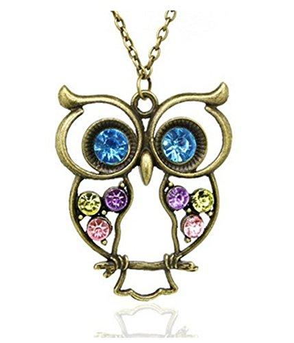 BUYINHOUSE Vintage, Retro Colorful Rhinestone Owl Pendant and Long Chain Necklace with Antiqued Bronze/Brass Finish
