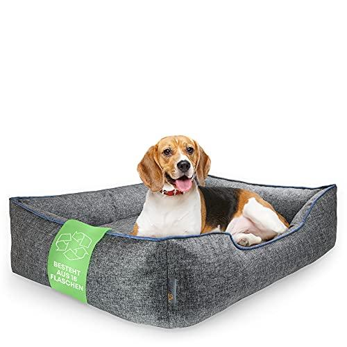 HunDu Hundebett Waschbar | Aus PET-Flaschen Recycelt für Kleine und Mittelgroße Hunde (90x70x20cm) Hundesofa Hundekissen Dog Bed Hundekorb Hundekörbchen Abwaschbar Haustierbett für In- Outdoor