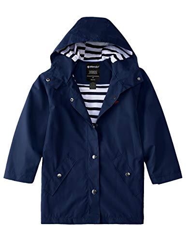 Wantdo Girls Waterproof Rain Jackets Lightweight Hooded Windbreaker Navy 10/12