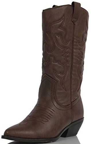 Soda Womens Reno-S Leatherette Two Tone Embroidered Pointy Toe Cowboy Western., Darktana, 8.5