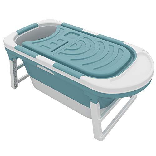 Bañera Plegable, bañera portátil Adulta, bañera plástica Independiente, Ducha de Seguridad, protección Antideslizante, bañera de hidromasaje cómoda, Azul doméstico/Rosa,Azul