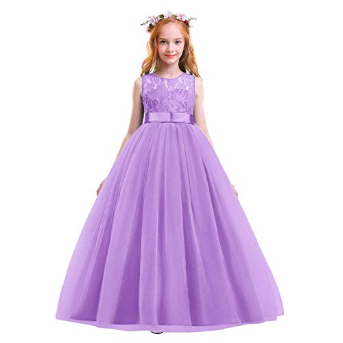 Christmas Flower Girl Dress Floor Length Tulle Ball Gowns for Kids Princess Pageant Birthday Party Formal Prom Dance Evening Skirt Lavender 4-5 Years
