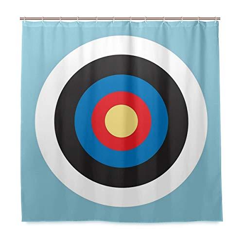 Cortina de ducha con diseño de ojo de toros en el blanco de tiro con arco Mod Hit tela de poliéster azul con lavable resistente para cuarto de baño con 12 ganchos de 182,88 x 182,88 cm