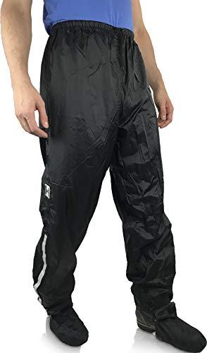 HOCK Unisex Regenhose Fahrrad inkl. ausfaltbarem Schuhschutz - Winter Regenbekleidung mit Reflektor-Streifen - 100% wasserdichte Hose für Herren und Damen (L (bis 185cm))