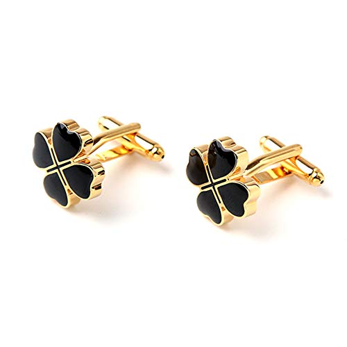 HGFDSA Four Leaf Clover Cufflinks Cuff Links Handmade Perfect Accessory for Your Cuff Shirt, 3 Colours,Gold