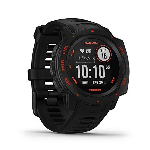 Garmin Instinct Esports – GPS-Smartwatch mit spezieller E-Sport-App, Live-Streaming von Puls und Stresslevel in das Match, Fitness-Tracking & vorinstallierte Sport-Apps, bis zu 14 Tage Akkulaufzeit