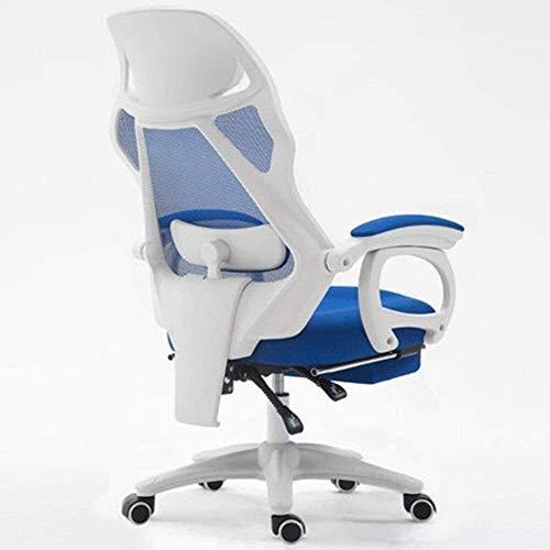 Fhw Silla de la computadora de Oficina de Malla ChairHome Silla giratoria reposapiés rotación de Nylon Sillas de oficina (Color : Blue)