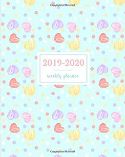 2019-2020 Weekly Planner: Kawaii Heart Shaped Red Purple Pink and Yellow Lollipops, Weekly and Monthly Standard Professional Calendar | 1 July 2019 - 31 December 2020