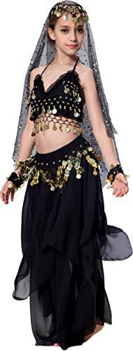 Seawhisper Bollywood Kostüm Kinder Karnevalkostüm Mädchen Bauchtanzkostüm Indische Kleider Schwarz 128 134