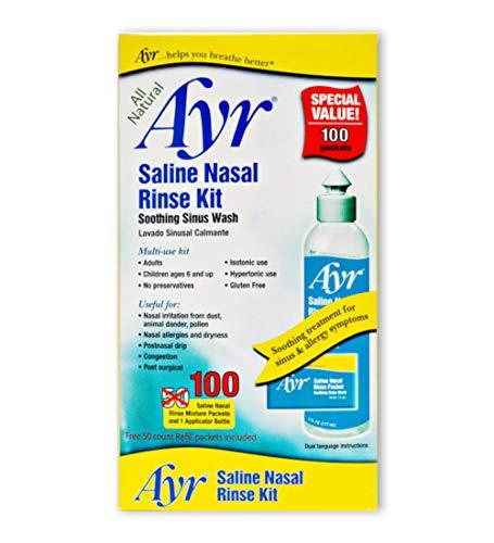 Ayr Saline Nasal Rinse Kit Soothing Sinus Wash,...