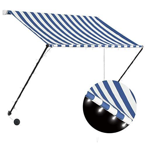 vidaXL Toldo Retráctil con LED Protección Exterior Balcón Patio Aire Libre Camping Cubierta Solar Pabellón Cubre Impermeable Azul y Blanco