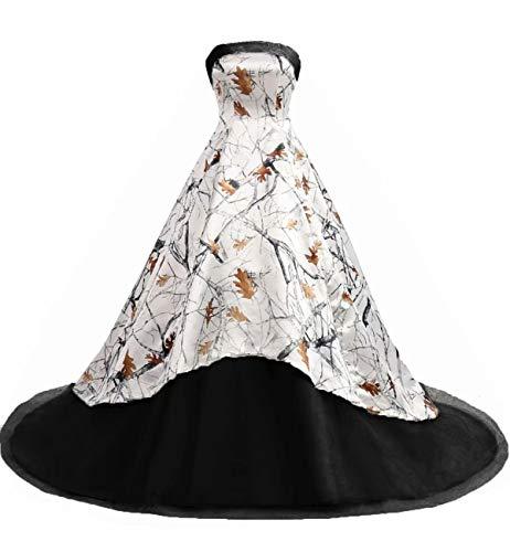 Fankeshi Damen Camo bedrucktes Ballkleid, Hochzeitskleid, Satin, formelle Abendkleider, Partykleider - Schwarz - 48