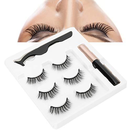 3 pcs Yeux Maquillage Ensemble 3 Paires Réutilisables Faux Cils Imperméable À L'eau Magnétique Liquide Eyeliner Pince À Épiler Aucune Colle Nécessaire
