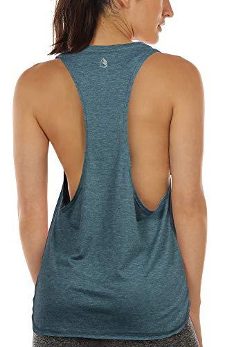 icyzone Femmes Décontracté Débardeur de Sport sans Manches en Vrac Exercice Yoga Running Tank Tops (S, Lake Blue)