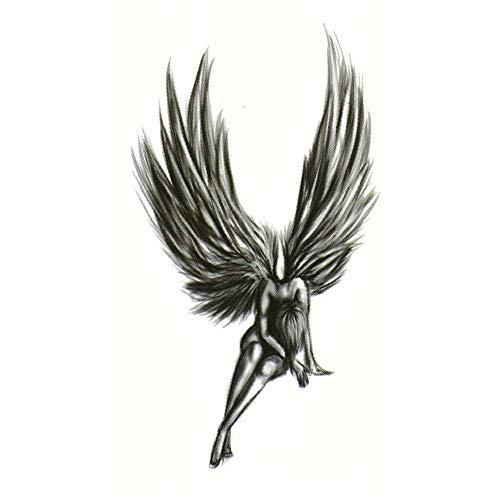 JUSTFOX - Temporäres Tattoo Engel Fee Schwarz Design Temporary Klebetattoo Körperkunst