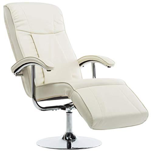 Festnight TV-Sessel Relaxsessel Leder Kunstledersessel Stressless Sessel Creme Kunstleder