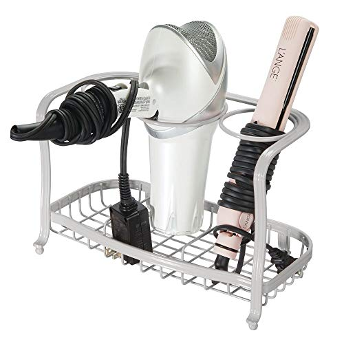 mDesign Metal Hair Care Styling Tool Organizer Holder - 3 Sections - Bathroom Vanity Countertop Storage for Hair Dryer Flat Irons Curling Wands Hair Straighteners - Light Gray