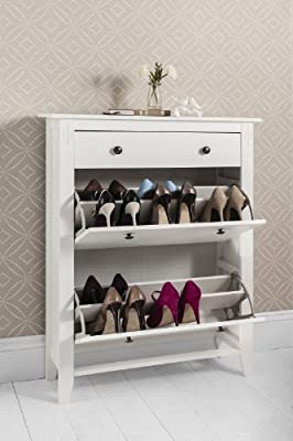 Shoe Storage Cabinet with Storage Drawer Cotswold in White