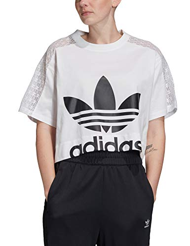 adidas Lace T-Shirt, Donna, White, 42