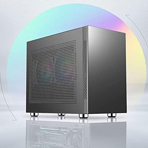 WSNBB Estuche para PC, Estuche Pequeño ITX, Mini Estuche Portátil para Oficina De Escritorio, Compatible con La Instalación Vertical De La Tarjeta Gráfica Refrigerada por Agua MATX (Color : Black)