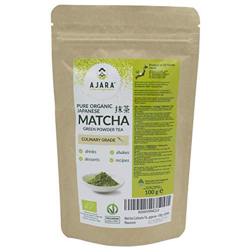 Japanischer Grüner Tee BIO Pulver Matcha | Für Süßigkeiten, Smoothies, Rezepte | Energetisch, Antioxidantien Antistress, Entgiftend | Hergestellt in Uji (Kyoto) Japan | 100g Beutel