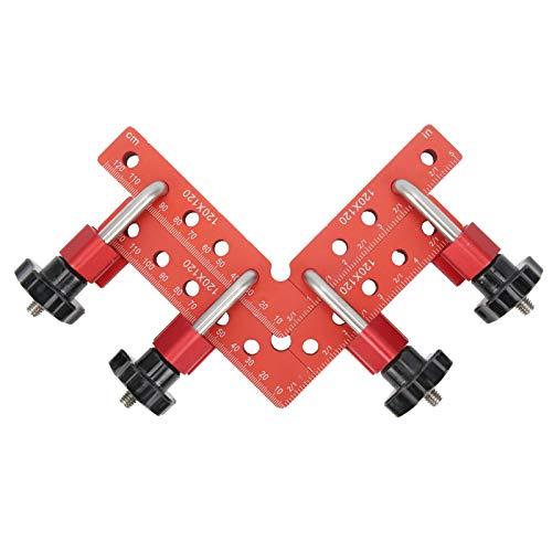 Escuadras de posicionamiento de 90 grados Abrazaderas de ángulo recto Abrazadera de fijación, aleación de aluminio con escala de 120 mm, adecuada para procesamiento y ensamblaje de madera