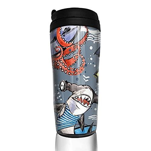 Shark Octopus Cangrejo Surfing Taza de café reutilizable Vasos con tapa