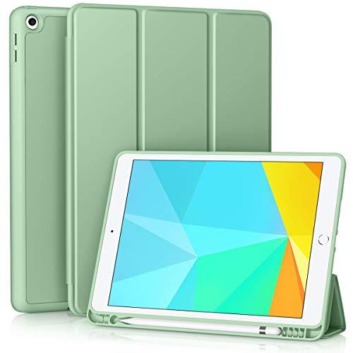 Vobafe Custodia Compatibile con iPad 8a Generazione 2020 iPad 7a Gen 2019, Leggero Custodia Protettivo Supporto Pieghevole con Pencil Holder per iPad 10.2 , Auto Svegliati Sonno Matcha Verde