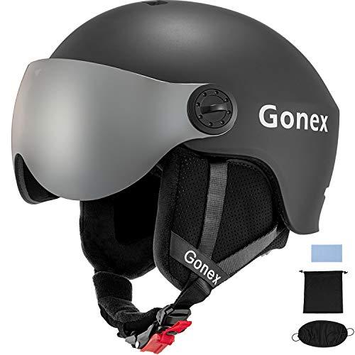 Gonex ASTM Certified Ski Helmet with Detachable Goggles, Winter Snow Snowboard Helmet Windproof Skiing Helmet for Men Women Youth, Accessories Included (Dark Blue L)