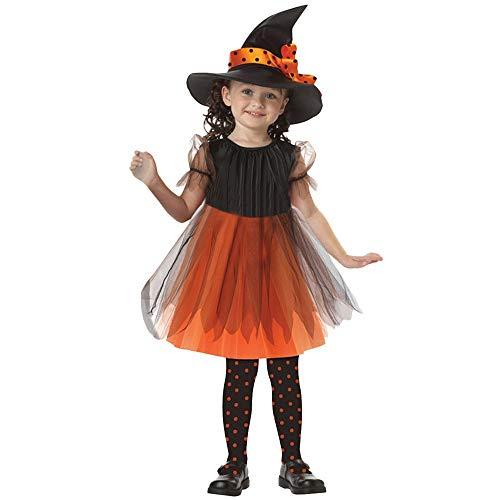 Riou Vestido de Halloween de Las niñas Infantiles Calabaza Niños pequeños Bebés Niñas Ropa de Halloween Disfraz Vestido Vestidos de Fiesta + Traje de Sombrero