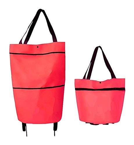Bolso de compras plegable con ruedas, bolso plegable de la carretilla en las ruedas para las mujeres, la bolsa de asas de viaje de las compras multifunción reutilizable, bolsa de capacidad de servicio