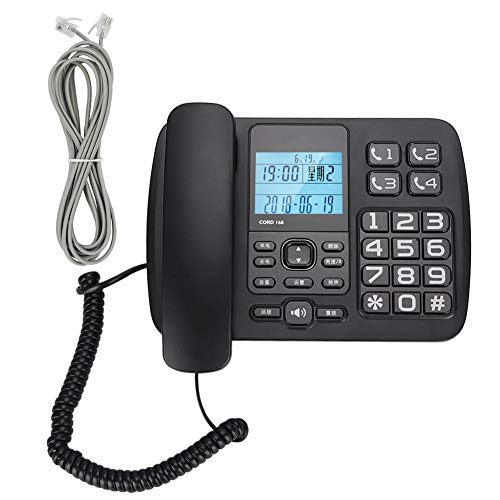 M ugast Corded Telephone,Wired Desktop Telephone Landline with FSK/DTMF Caller ID/Hands-Free Dialing Function,LCD Smart Backlight,Support Delete/Call Back,for Home/Office/Hotel