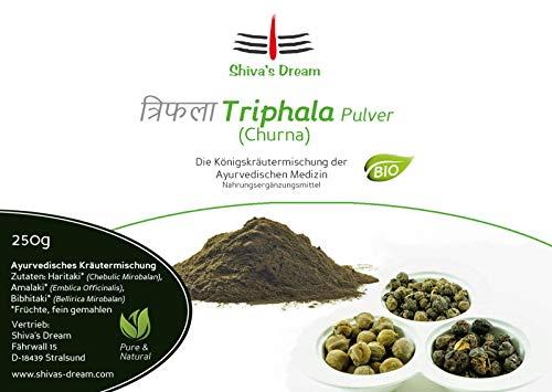 Haritaki verbeterd: triphala-poeder fijn malen, 250 g, biologisch, gecontroleerde kwaliteit uit India, Shiva's Dream, alle 3 dozen in evenwicht