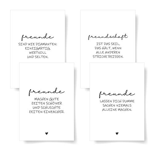 Donari® Postkarten 4er Set DIN A6 • Hochwerige Postkarten mit Sprüchen • Postkarten in edlem Design Schwarz Weiß • Freunde Karten mit Sprüchen (Freunde)