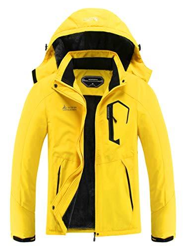 MOERDENG Damen Wasserdicht Skijacke Warm Winter Schnee Mantel Mountain Windbreaker Kapuze Regenmantel Snowboardjacken - Gelb - X-Large