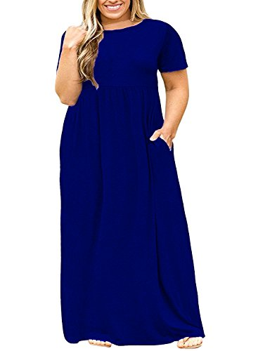 Plus Size Womens Dresses Casual Short Sleeve Loose Plain Long Maxi T Shirt Dress with Pockets...