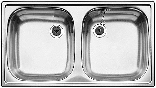 Blanco Top ED 8 x 4 Edelstahl-Spüle Naturfinish Set Doppelbecken Auflagespüle