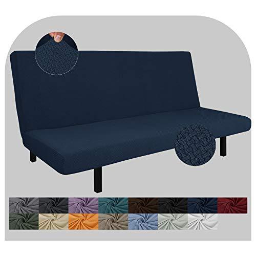 JIVINER Super Stretch Futon Cover Spandex Jacquard Futon Slip Cover Full Size Soft Armless Sofa Bed Slip Covers for Futon Mattress with Elastic Bands (Futon, Navy Blue)