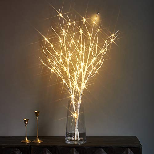 LITBLOOM Lighted White Twig Branches with Timer Battery Operated Tree Branch with Warm White Lights for Holiday and Party Decoration 32IN 100 LED Waterproof