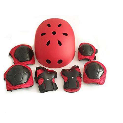 Casco Rodilleras y Coderas Para Niños Protecciones Skate Patines SKL Casco Tamaño Ajustable Deportivos Bicicleta Monopatín (Azul Rojo Negro)