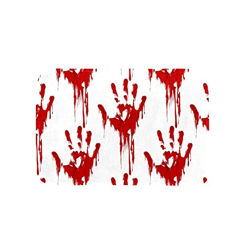 LORVIES Bathroom Rug, Halloween Horror Bloody Hand Print Flannel Microfiber Foam Bath Mat, Non-Slip Soft Absorbent…